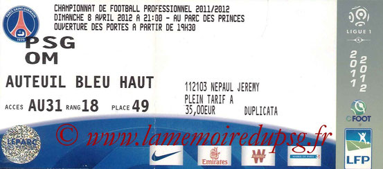 Ticket  PSG-Marseille  2011-12