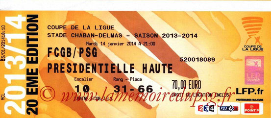 Ticket  Bordeaux-PSG  2013-14