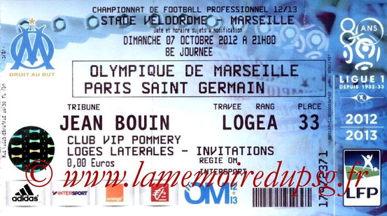 Ticket  Marseille-PSG  2012-13