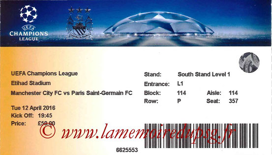 Ticket  Manchester City-PSG  2015-16