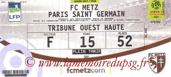 Ticket  Metz-PSG  2017-18