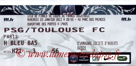 Ticket  PSG-Toulouse  2012-13