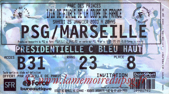 Ticket  PSG-Marseille  2002-03