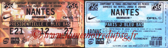 Tickets  PSG-Nantes  2001-02