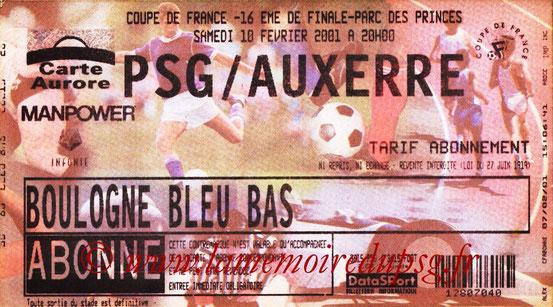 Ticket  PSG-Auxerre  2000-01