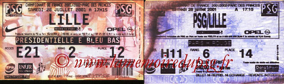 Tickets  PSG-Lille  2001-02