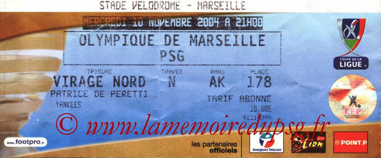 Ticket  Marseille-PSG  2004-05