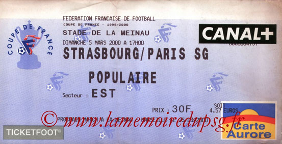 Ticket  Strasbourg-PSG  1999-00