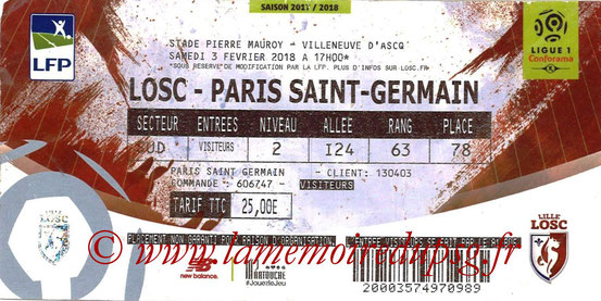 Ticket  Lille-PSG  2017-18