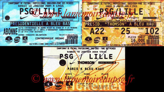 Tickets  PSG-Lille  2003-04