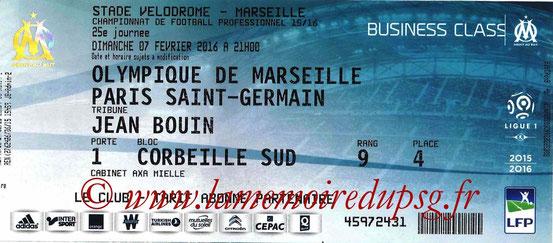 Ticket  Marseille-PSG  2015-16