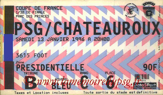 Ticket  PSG-Chateauroux  1996-97