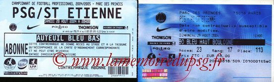 Tickets  PSG-Saint Etienne  2004-05