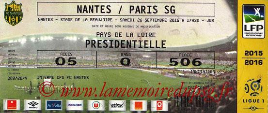 Ticket  Nantes-PSG  2015-16