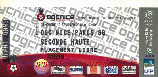 Ticket  Nice-PSG  2011-12