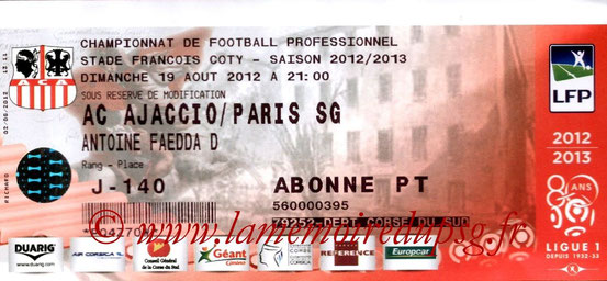 Ticket  Ajaccio-PSG  2012-13