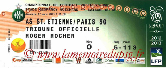 Ticket  Saint-Etienne-PSG  2012-13