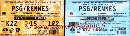 Tickets  PSG-Rennes  2003-04