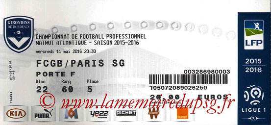 Ticket  Bordeaux-PSG  2015-16