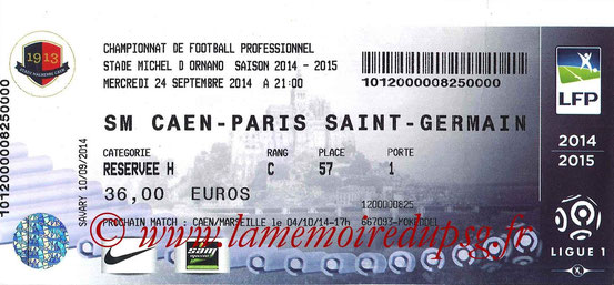 Ticket  Caen-PSG  2014-15