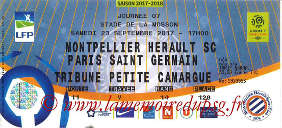 Ticket  Montpellier-PSG  2017-18