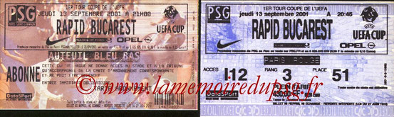 Tickets  PSG-Rapid Bucarest  2001-02