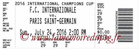 Ticket  PSG-Inter Milan  2016-17