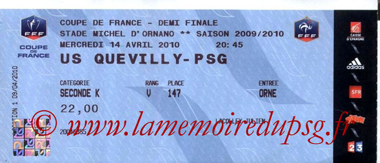 Ticket  Quevilly-PSG  2009-10