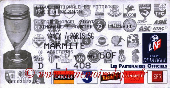 Ticket  Nancy-PSG  2000-01