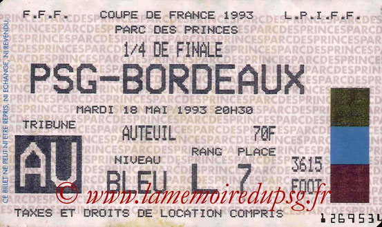 Ticket  PSG-Bordeaux  1992-93