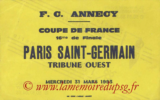 Ticket  Annecy-PSG  1992-93