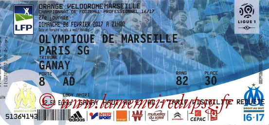 Ticket  Marseille-PSG  2016-17