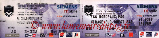 Tickets  Bordeaux-PSG  2001-02
