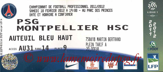 Ticket  PSG-Montpellier  2011-12