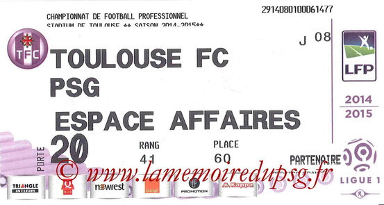 Ticket  Toulouse-PSG  2014-15