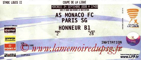 Ticket  Monaco-PSG  2008-09