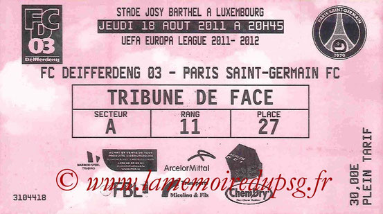 Ticket  Differdange-PSG  2011-12