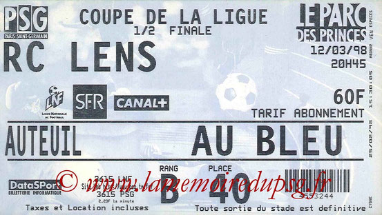 Ticket  PSG-Lens  1997-98