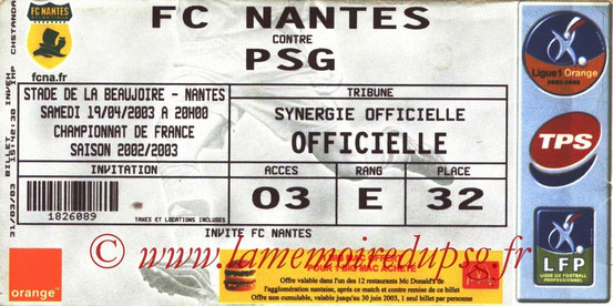 Ticket  Nantes-PSG  2002-03