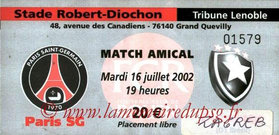 Ticket  PSG-Dynamo Zagreb  2002-03