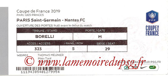 Ticket  PSG-Nantes  2018-19
