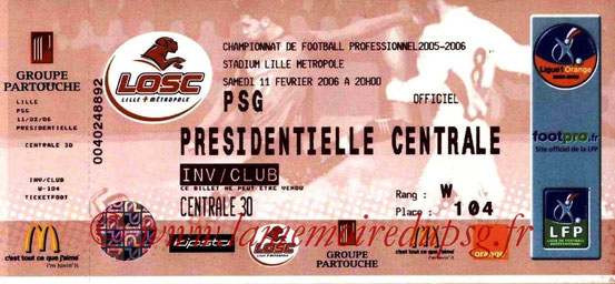 Ticket  Lille-PSG  2005-06