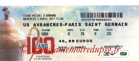 Ticket  Avranches-PSG  2016-17