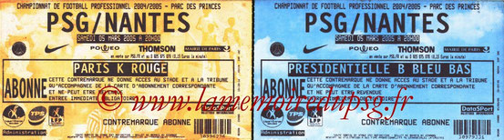 Tickets  PSG-Nantes  2004-05
