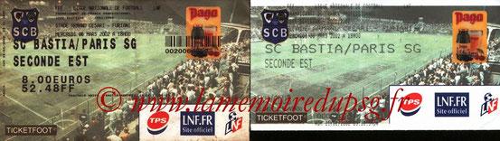 Tickets  Bastia-PSG  2001-02