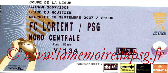 Ticket  Lorient-PSG  2007-08