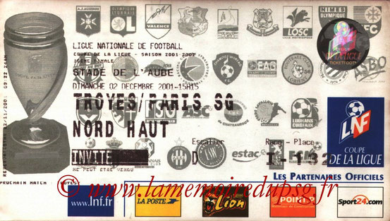 Ticket  Troyes-PSG  2001-02