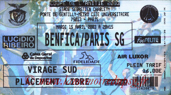 Ticket  Benfica-PSG  2002-03
