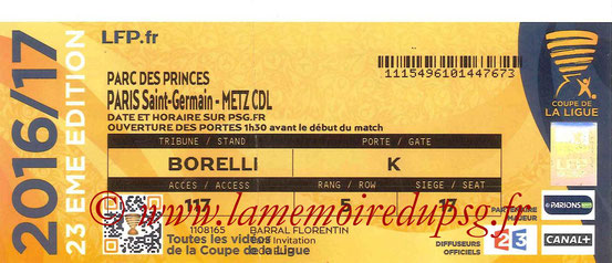 Ticket  PSG-Metz  2016-17