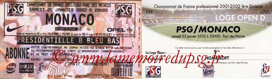 Tickets  PSG-Monaco  2001-02
